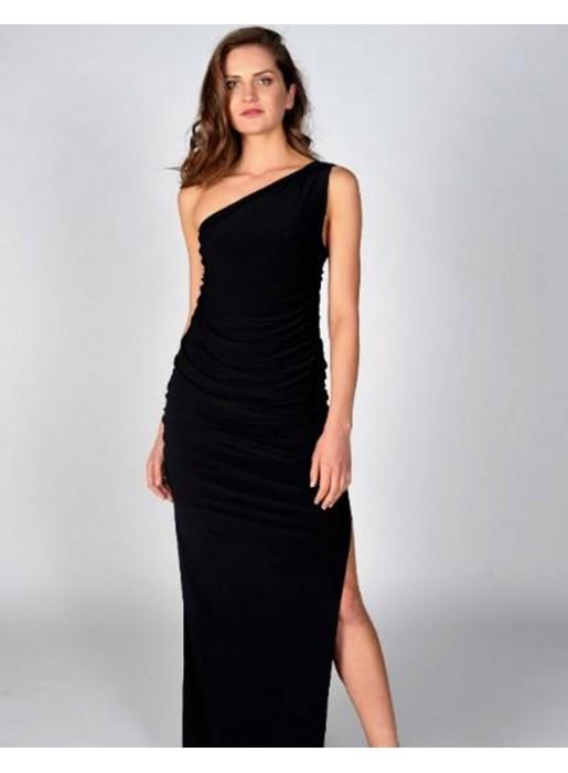 Vestido De Fiesta Largo Negro Con Escote Asimétrico Angelina