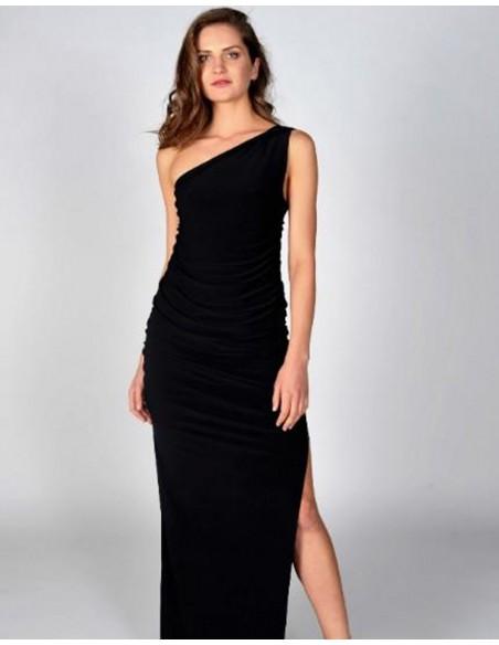 Vestido de fiesta largo negro con escote asimétrico para invitadas a eventos