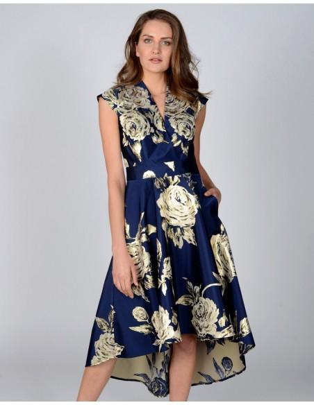Vestido corte midi marino con estampado dorado de flores de Revie London