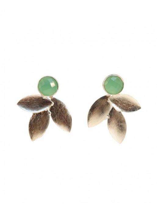 Pendientes con hojas plata y  piedra verde- aqua