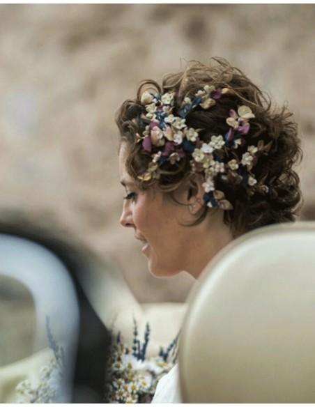 Corona de porcelana y flores otoñales para bodas y eventos