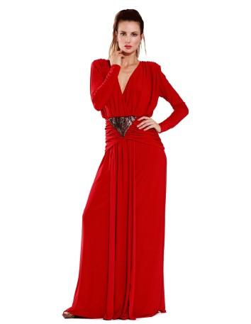 Vestido largo rojo con escote en la espalda y cinturón bronce de Mordisco de Mujer