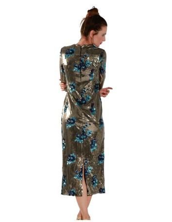 Vestido midi lentejuelas y pailettes con flores bordadas de Mordisco de Mujer