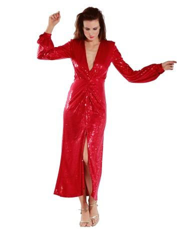 Vestido largo con escote en V rojo con lentejuelas de Mordisco de Mujer