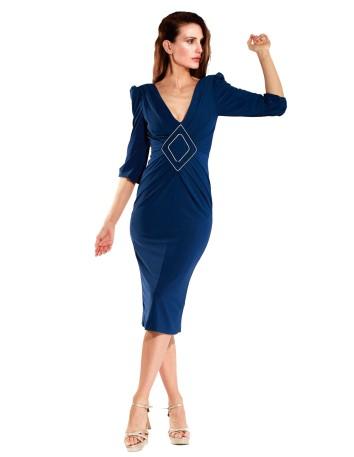 Vestido de largo midi azul marino con escote en V de Mordisco de mujer