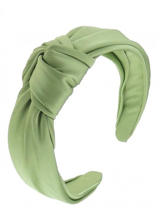 Diadema tela satén verde diseñada por Elenitos| INVITADISIMA