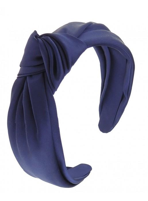 Blue knotted klein satin headband