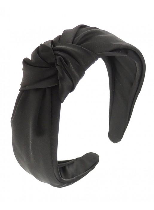 diadema negra de satén con nudo para invitadas