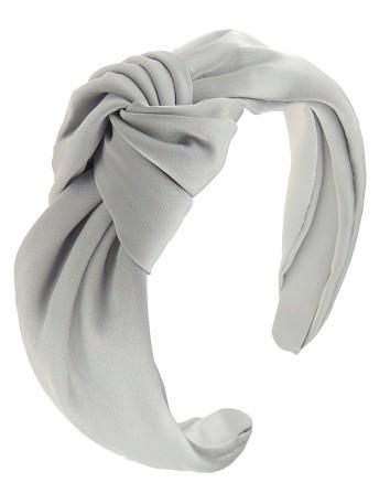 Diadema con nudo de satén de color gris perla