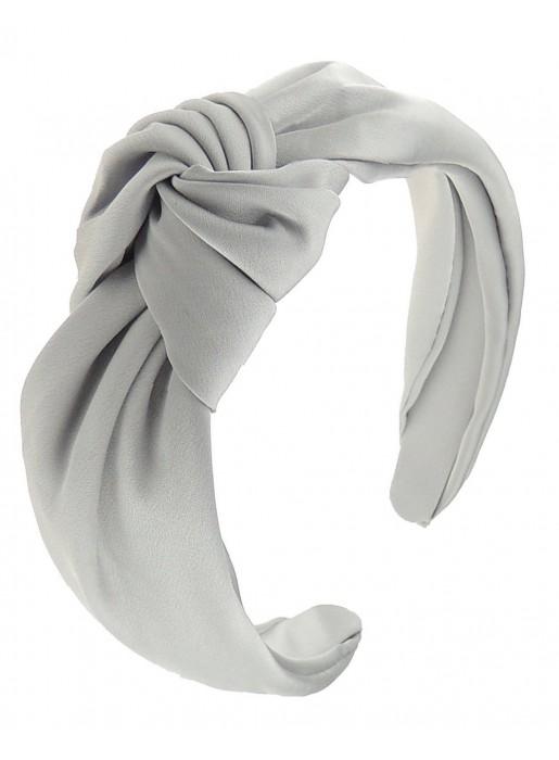 Pearl grey satin knotted headband