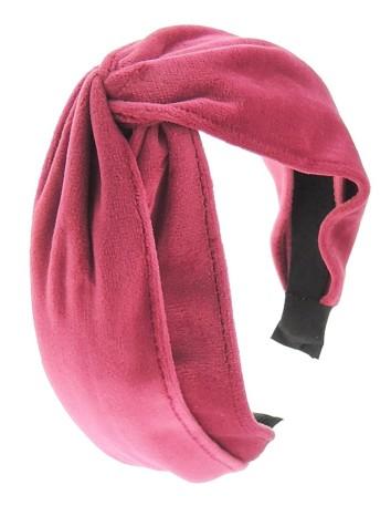 fuchsia velvet headband with knot detail