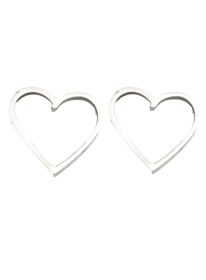 Pendientes en forma de corazón plateados de Eme Jewels