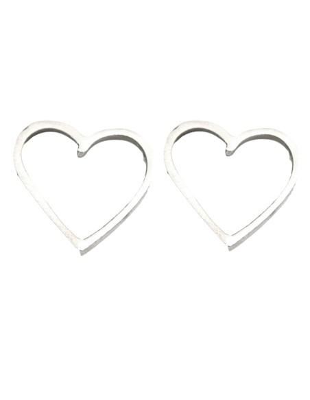 Heart-shaped earrings in silver