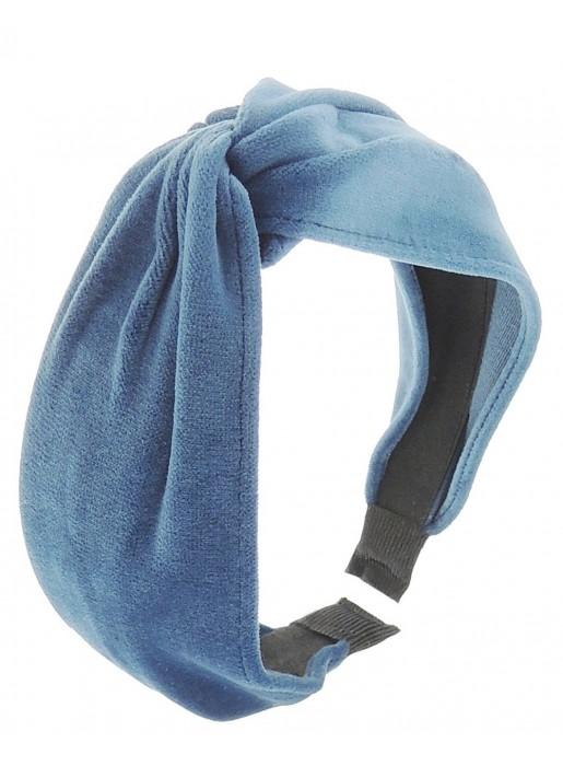 Blue velvet knotted headband