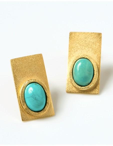 Pendientes rectángulo con piedras de color para invitadas