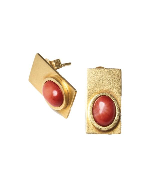 Pendientes rectángulo con piedras de color de Eme Jewels