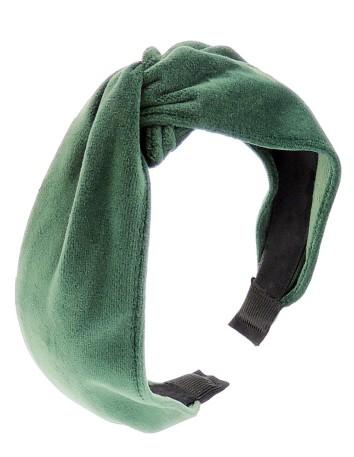 Green velvet knotted headband