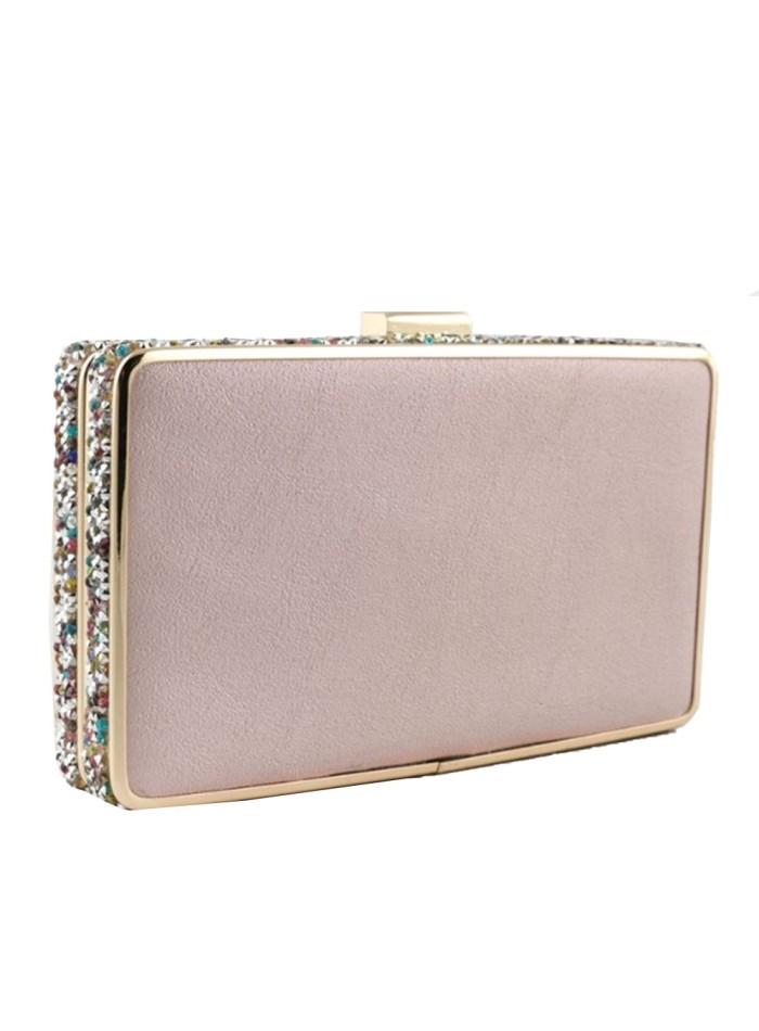 Bolso de fiesta rosa con pedrería lateral para invitadas a bodas y eventos