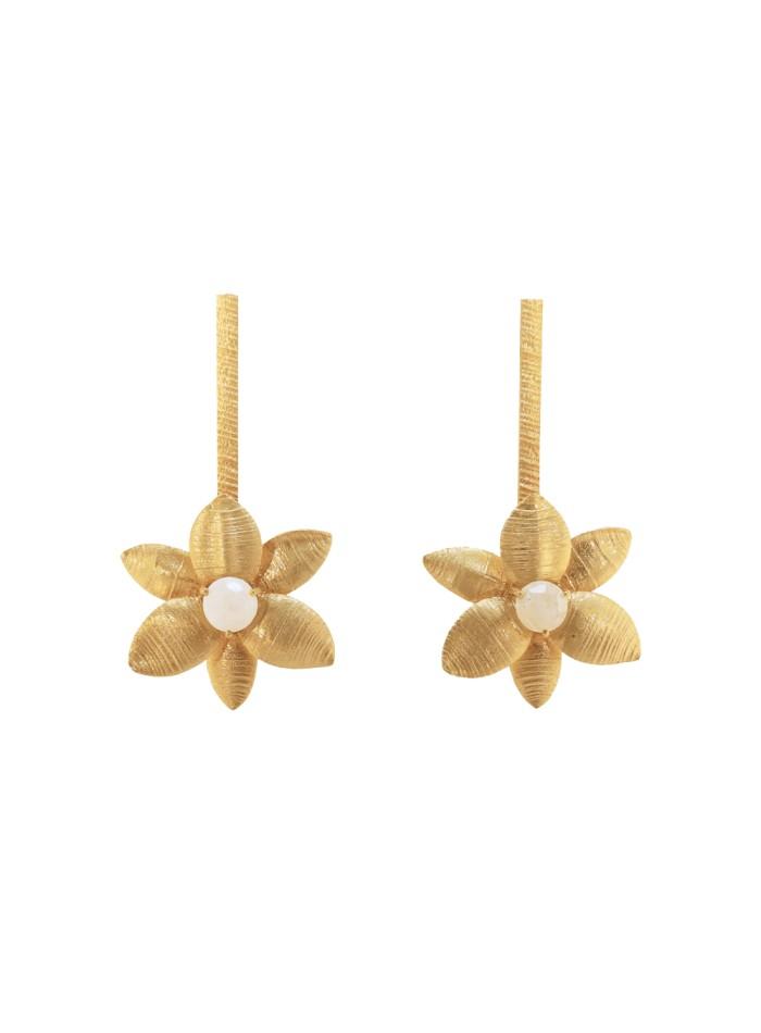 Pendientes largos dorados con forma de flor - Sofía de ACUS