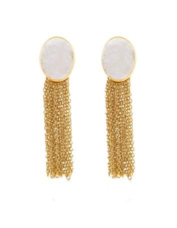 Pendientes con flecos y piedra drusa blanca
