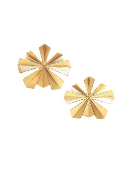 Pendientes en forma de hoja dorados de acus