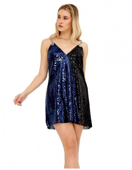 vestido de fiesta corto con escote en V de lentejuelas bicolor, azul eléctrico y negro