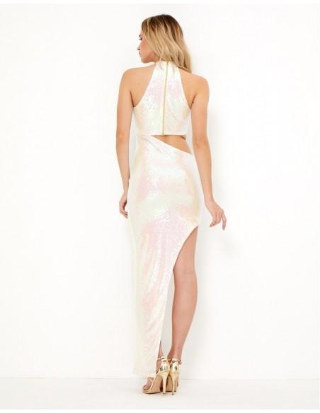 Vestido largo blanco de lentejuelas - Angelique de Tez Originals