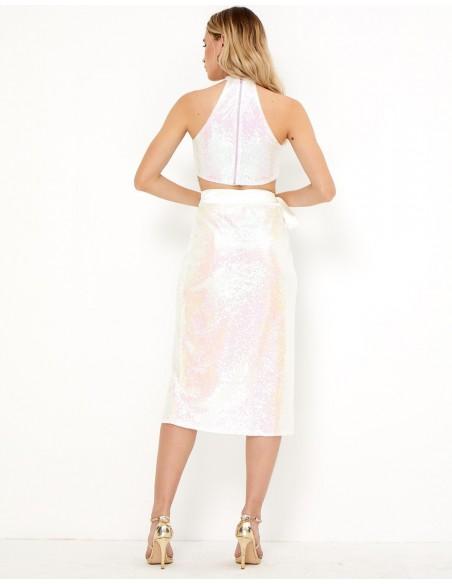 Falda blanca de lentejuelas - Charlize - Tez Originals