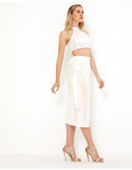Falda blanca de lentejuelas - Tez Originals