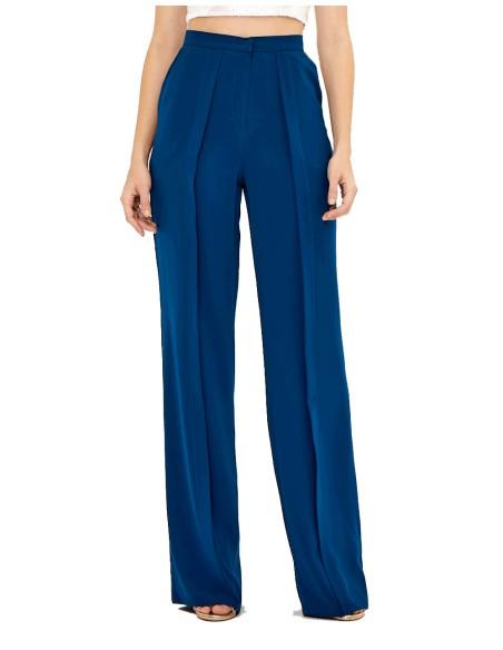 Pantalón de fiesta azul marino recto con pinza - Adele