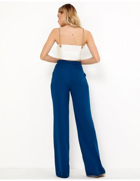 Pantalón de fiesta azul marino recto con pinza - Tez Originals