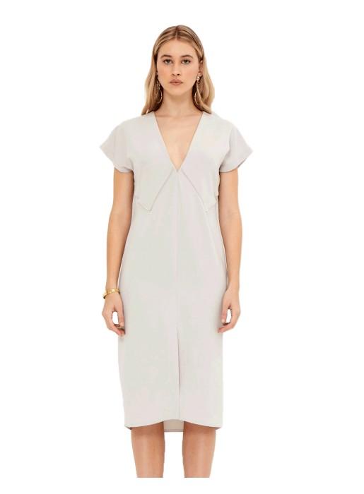 Vestido de cóctel crema con escote en V - Veronica