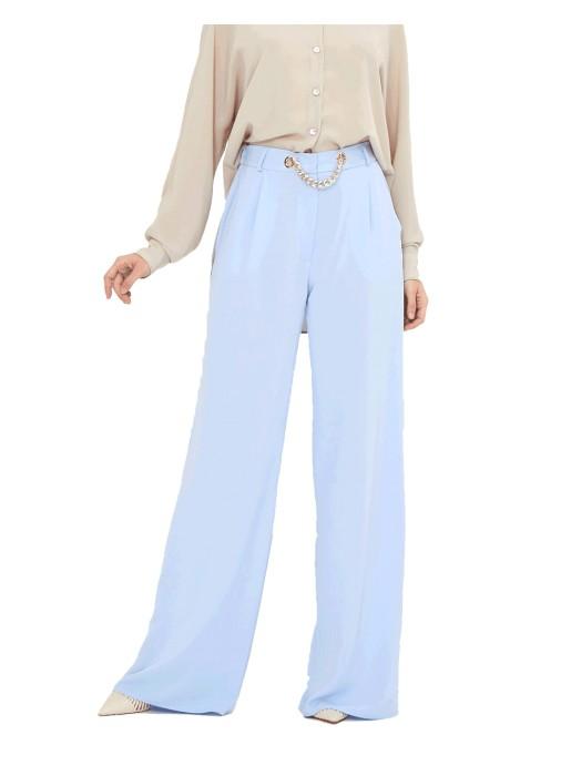 Pantalón de fiesta palazzo azul claro - Gia