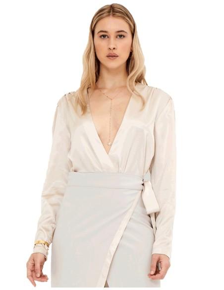 Blusa de fiesta crema con escote en V - Ella