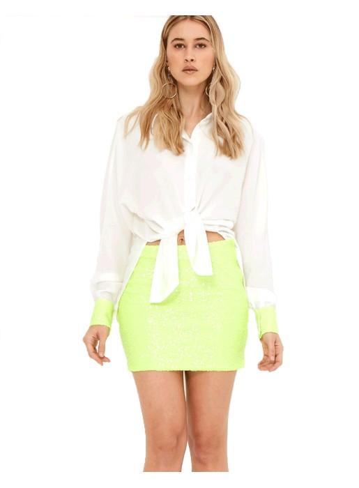 Minifalda de fiesta verde neón - Clarise