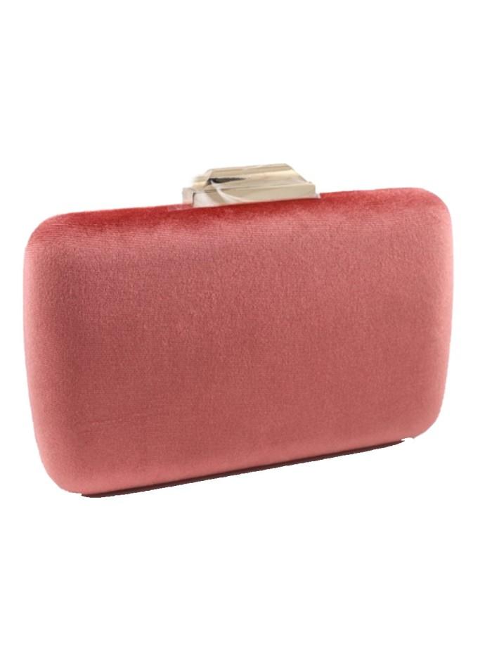 Coral velvet rectangular party bag at INVITADISIMA