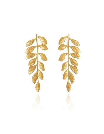 Pendientes hojas doradas helénicos invitada boda