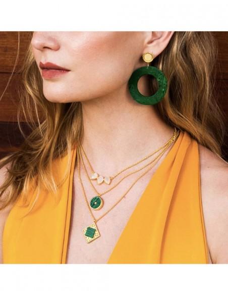 Long earrings disc malachite gold plate LAVANI - 2