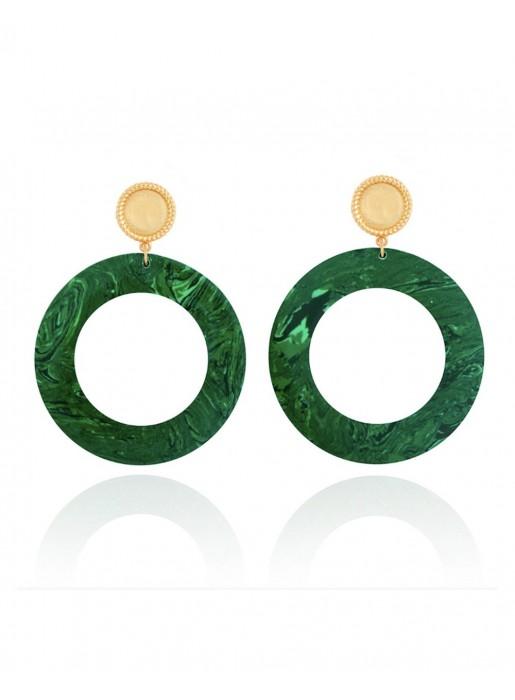 Long earrings disc malachite gold plate LAVANI - 1