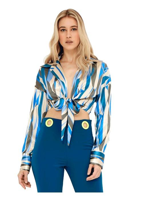 Blusa de fiesta estampada con nudo a la cintura - Bonita