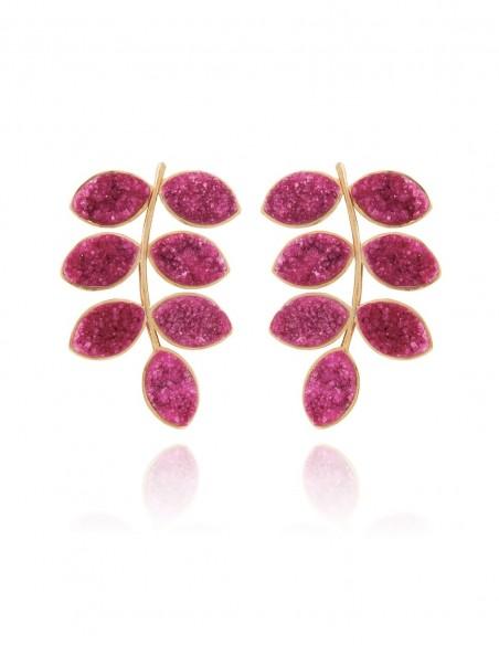 Long earrings with garnet quartz druza leaves LAVANI - 1