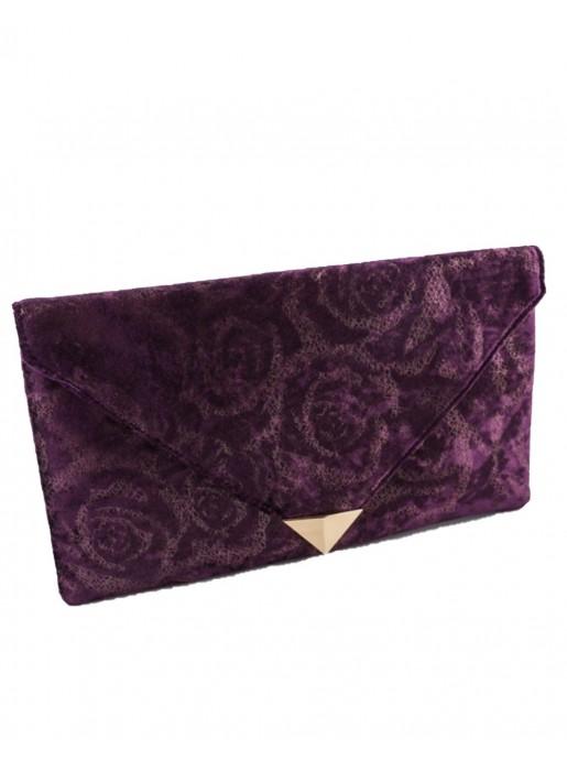 Rectangular maroon velvet party handbag at INVITADISIMA