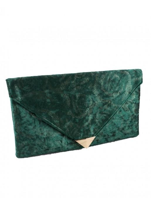 Bottle green velvet rectangular party bag at INVITADISIMA