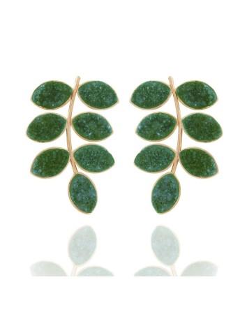 Pendientes largos druza verde invitada lavani