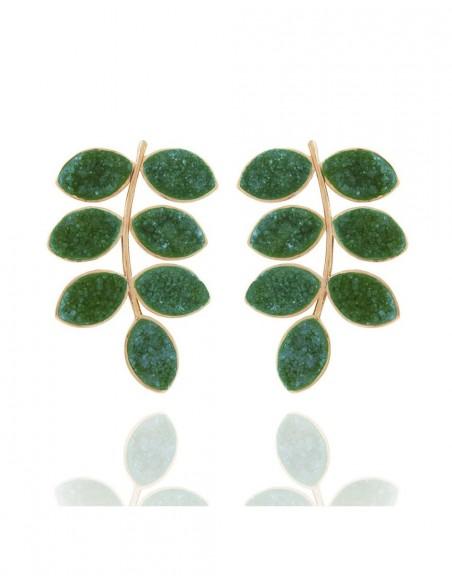 Long earrings with green quartz druza leaves LAVANI - 1