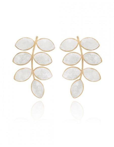 Long earrings with white quartz druza leaves LAVANI - 1