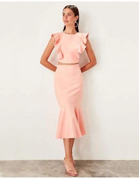 Set of skirt and crop top for angel sleeve guest Lauren Lynn London - 3
