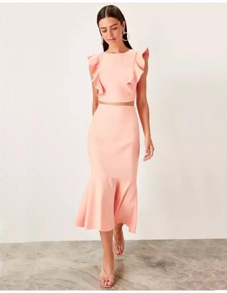Set of skirt and crop top for angel sleeve guest Lauren Lynn London - 7