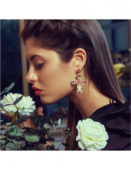 Golden cross earrings with fuchsia quartz druse LAVANI - 2