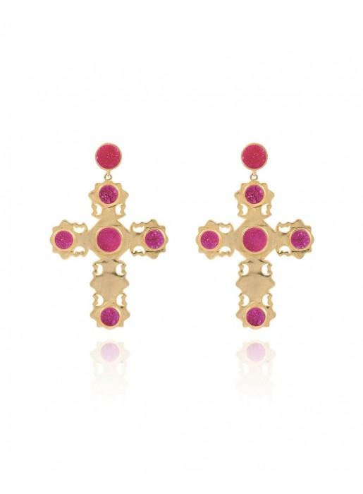 Golden cross earrings with fuchsia quartz druse LAVANI - 1